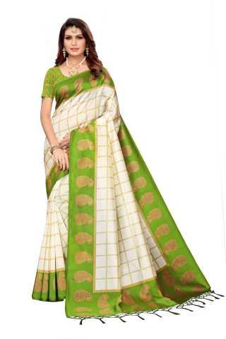 Women White Mysore Silk Saree With Beautiful Tassel Border - S183215