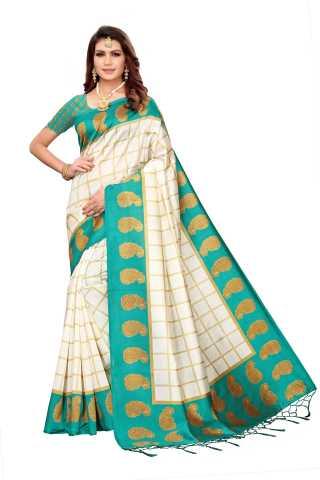 Women White Mysore Silk Saree With Beautiful Tassel Border - S183216