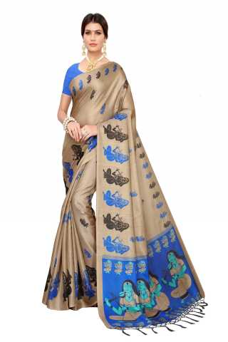 Saree Silk Beige-Blue Colored Printed Saree With Unstitched Blouse