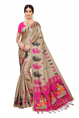 Saree Silk Beige-Pink Colored Printed Saree With Unstitched Blouse