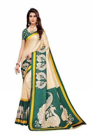 Silk Cream Color Printed Saree With Unstitched Blouse Piece