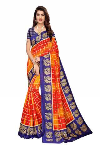 Orange n Blue Color Joya Silk Peacock Border Saree
