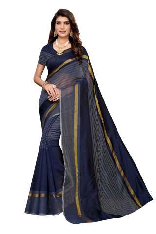 Women Blue Cotton Blend Casual Wear Saree With Blouse Piece - S184656