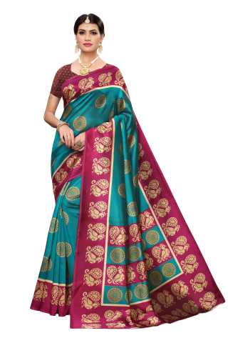 Womens Teal Kalamkari Printed Mysore Silk Saree - S184814