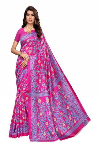 Rani Pink Color Joya Silk Saree With Blouse Piece