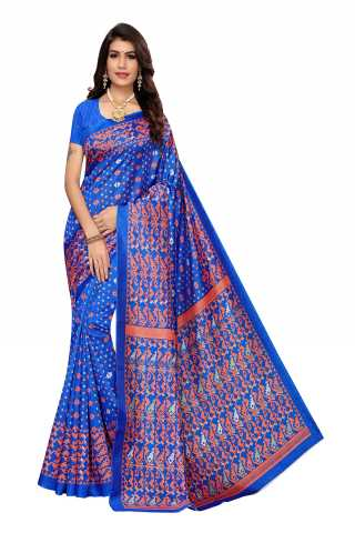 Royal Blue Color Joya Silk Saree With Blouse Piece