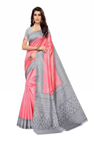 Light Red Colored Joya Silk Saree With Unstitched Blouse