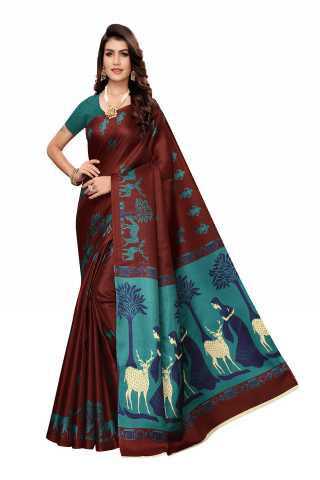 Silk Coffee Color Printed Saree With Unstitched Blouse Piece