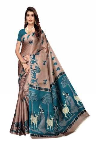 Silk Multi Color Printed Saree With Unstitched Blouse Piece