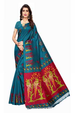 Joya Silk Teal Green Colored Parrot Pattern Saree With Unstitched Blouse