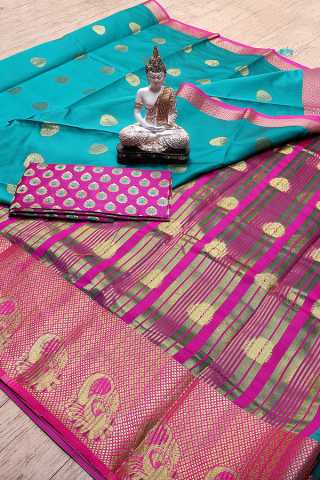 Rama Blue Colored  Jacquard Woven Work Beautiful Saree With Blouse Piece - S185400