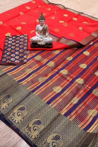 Red Colored  Jacquard Woven Work Beautiful Saree With Blouse Piece - S185400