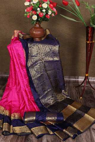 Pink And Navy Blue Colored Designer Jacquard Saree With Blouse