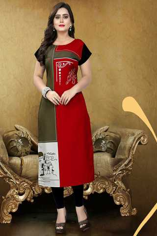 Red And Mehendi Green Soft American Crepe Casual Wear Kurti