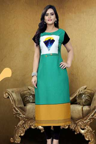 Turquoise Blue Soft American Crepe Casual Wear Kurti