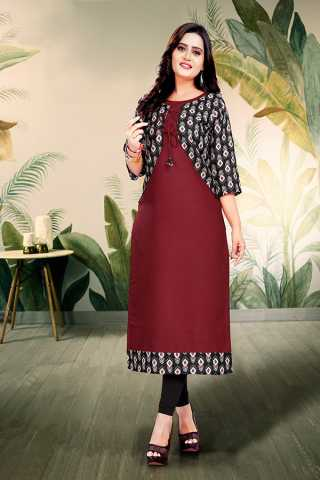 Maroon Digital Print With Dori Pattern Ruby Cotton Kurta With Jacket