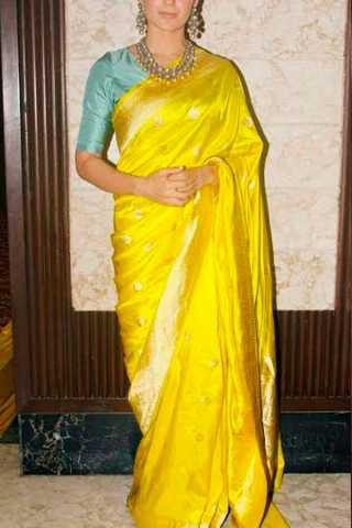 Yellow Colored Silk Fabric Designer Wear Beautiful Saree With Turquoise Heavy Designer Blouse - SLS08