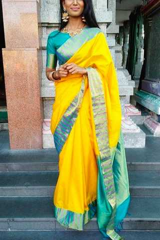 Yellow Colored Silk Fabric Designer Wear Beautiful Saree With Turquoise Designer Blouse - SLS10