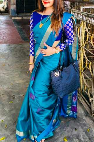 Blue Colored Silk Fabric Designer Wear Beautiful Designer Saree With Blue Blouse - SLS19