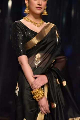 Black Colored Silk Fabric Designer Wear Beautiful Black Border Designer Saree With Black Blouse - SLS22