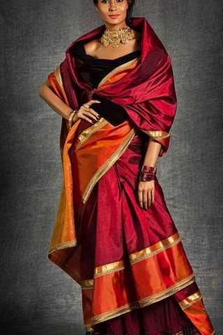 Maroon Colored Silk Fabric Designer Wear Beautiful Designer Saree With Black Blouse - SLS24