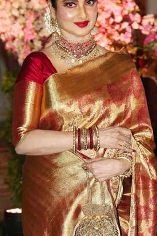 Golden -Red Colored Silk Fabric Designer Wear Beautiful Designer Saree With Red Designer Blouse - SLS34