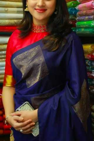 Blue Colored Silk Fabric Designer Wear Beautiful Designer Saree With Red Designer Blouse - SLS35