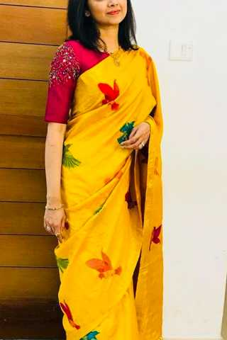 Yellow Colored Silk Fabric Designer Wear Beautiful Saree With Designer Blouse - SLS45 30""