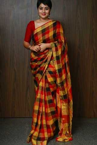 Multi Colored Silk Fabric designer wear Beautiful Saree With Designer Blouse - SLS57 30""