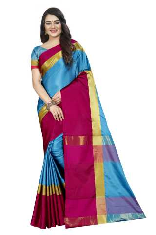Women Cotton Mix Silk Fabric Saree With Beautiful Unstitched Blouse - SON28