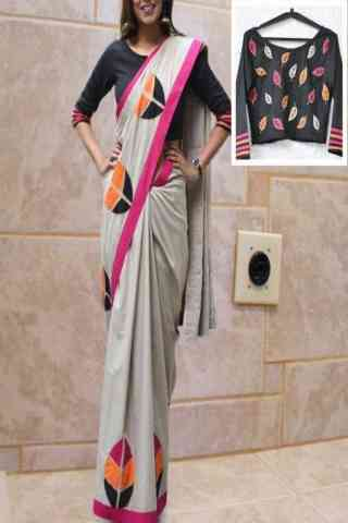 Magical Grey Color Designer Silikona Silk Printed Saree