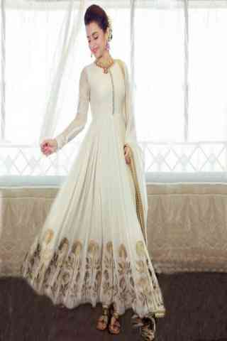 Delightful White Color Georgette Fabric Anarkali Style Salwar Suit