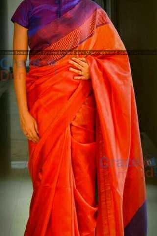 Prominent Orange Colored Designer Soft Silk Navratri Special Saree - CD273
