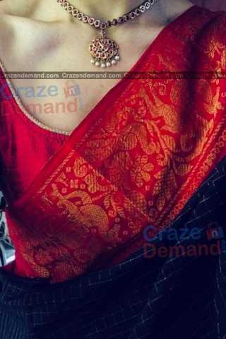 Excellent Broad Red Border Designer Soft Silk Navratri Special Saree - CD279