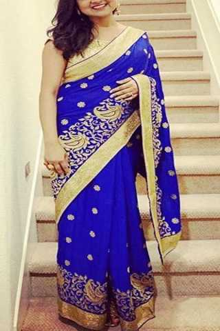 Blooming Blue Colored Designer Border Soft Silk Festive Wear Saree - CD282
