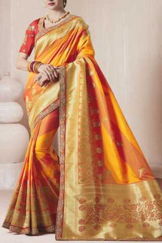 Graceful Yellow Colored Traditional Soft Silk Festive Wear Saree - CD287