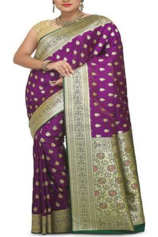 Mesmerising Violet Colored Traditional Soft Silk Festive Wear Saree - CD291