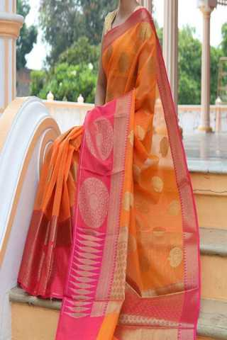 Demanding Orange Colored Pink Border Traditional Soft Silk Festive Wear Saree - CD298