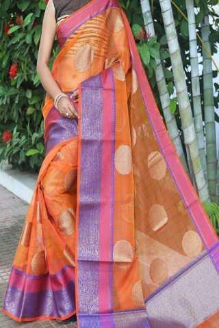 Wonderful Orange Colored Traditional Soft Silk Festive Wear Saree - CD300