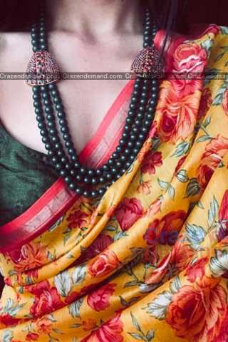 Dazzling Yellow Colored Traditional Soft Silk Festive Wear Saree - CD305