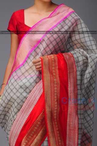Groovy White Colored Checks Pattern Soft Silk Festive Wear Saree - CD320