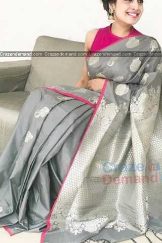 Ethnic Grey Colored Soft Silk Festive Wear Saree - CD321