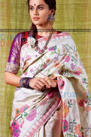 Lovely White Colored Karwa Chauth Special Soft Silk Festive Wear Saree - CD335