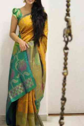 Stylish Yellow Color Soft Silk Designer Sarees - cnd1005