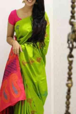 Stylish Green Color Soft Silk Designer Sarees - cnd1006
