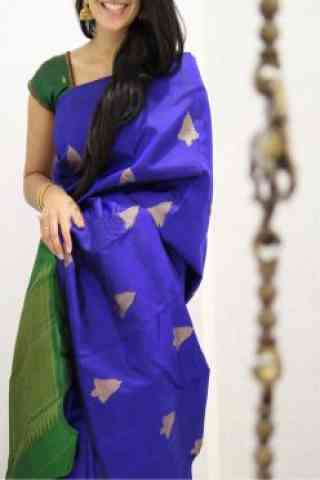Engrossing  Blue  Color Soft Silk Designer Sarees - cnd1008