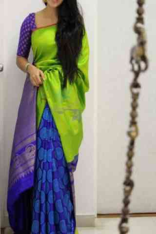 Engrossing Green And Blue  Color Soft Silk Designer Sarees - cnd1009