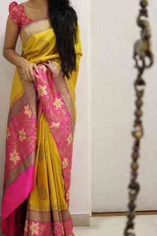 Charming Yellow Color Soft Silk Designer Sarees - cnd1016
