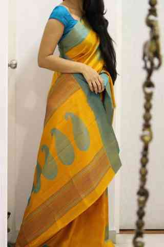 Sizzling Yellow Color Soft Silk Designer Sarees - cnd1019