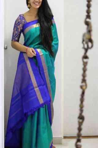 Admirable Turquoise Color Soft Silk Designer Sarees - cnd1025